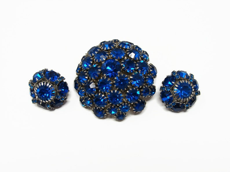 Vintage WARNER Blue Rhinestone Dome Brooch Matching Earrings image 0