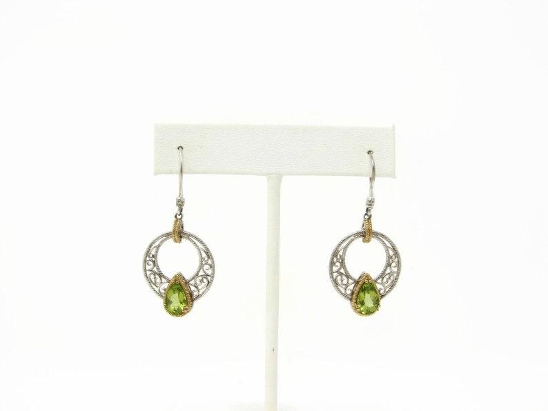 Sterling 18K Gold Peridot Earrings August Birthday Dangle image 0