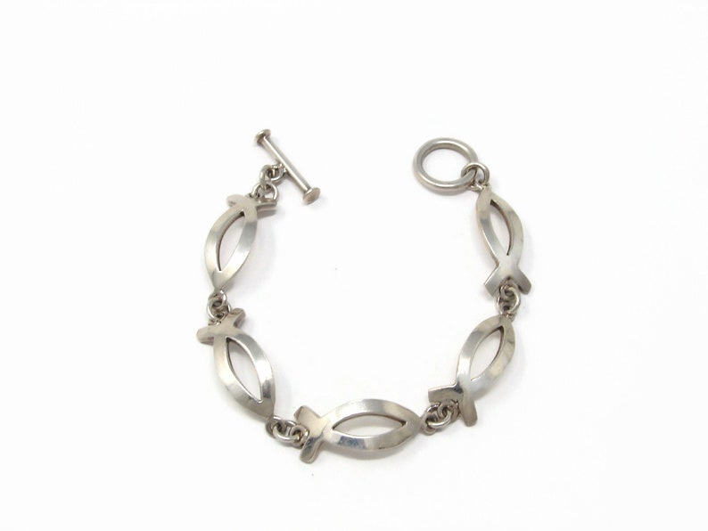 Sterling Silver Fish Bracelet  Christian Ichthus Made in image 0