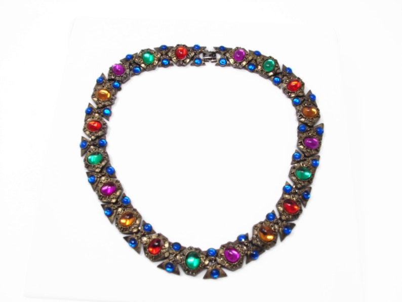 Vintage Cabochon Jewels of India Style Necklace image 0
