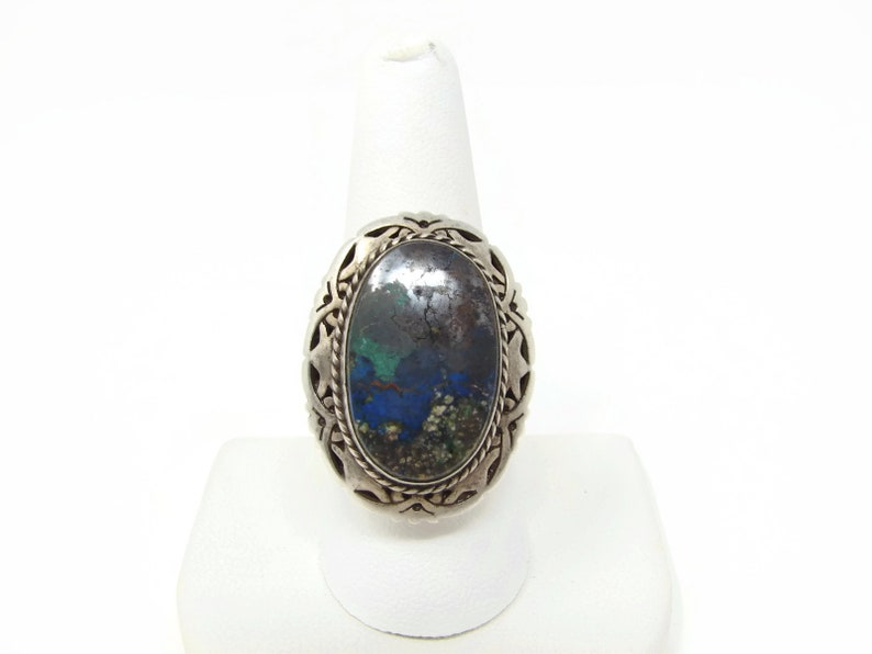 Vintage Azurite Sterling Adjustable Ring Mexico Silver image 0
