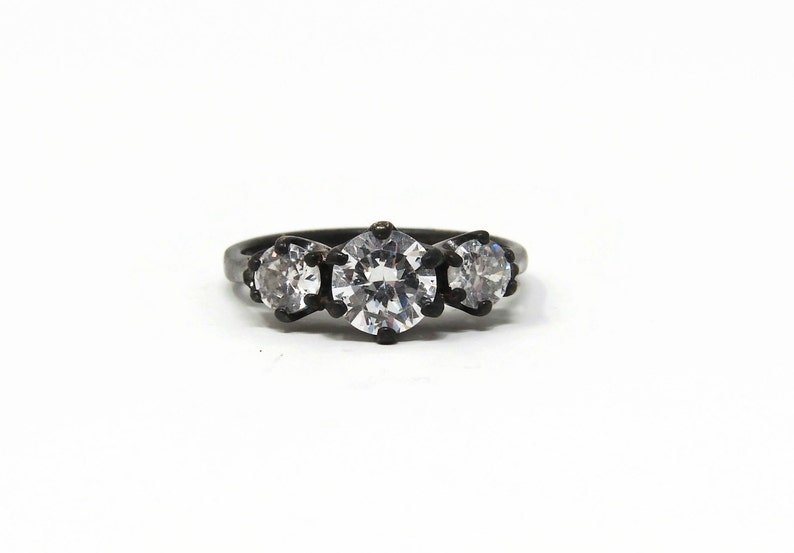 Vintage Sterling Silver CZ Ring  Heavily Oxidized  Size 6.5 image 0