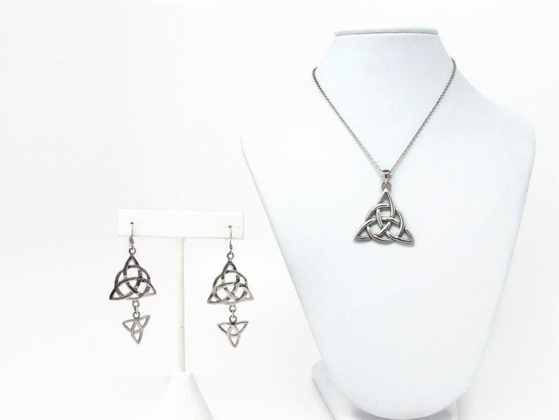 Peter Stone Sterling Silver Celtic Pendant & Earrings image 0