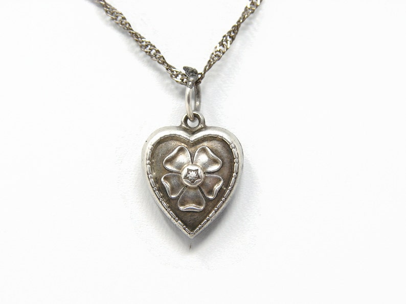 Vintage Sterling Silver Tudor Rose Puffy Heart Charm  image 0
