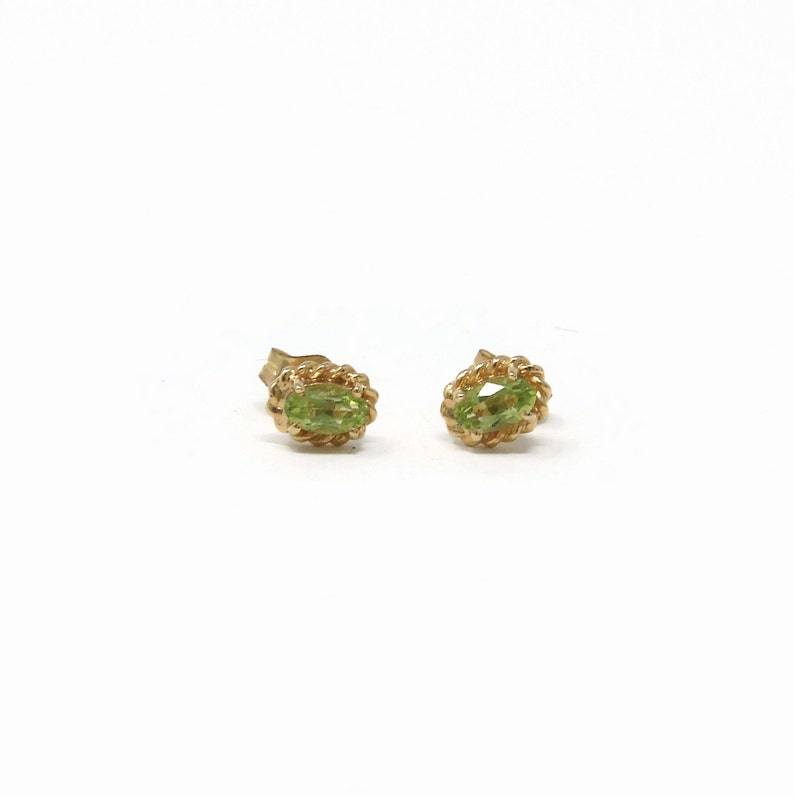14K Gold Peridot Earrings August Birthstone Stud Earrings image 0