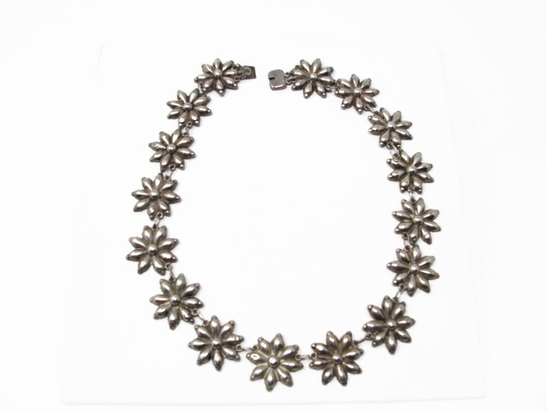 Vintage Hollow Sterling Silver Flower Necklace Mexican Style image 0