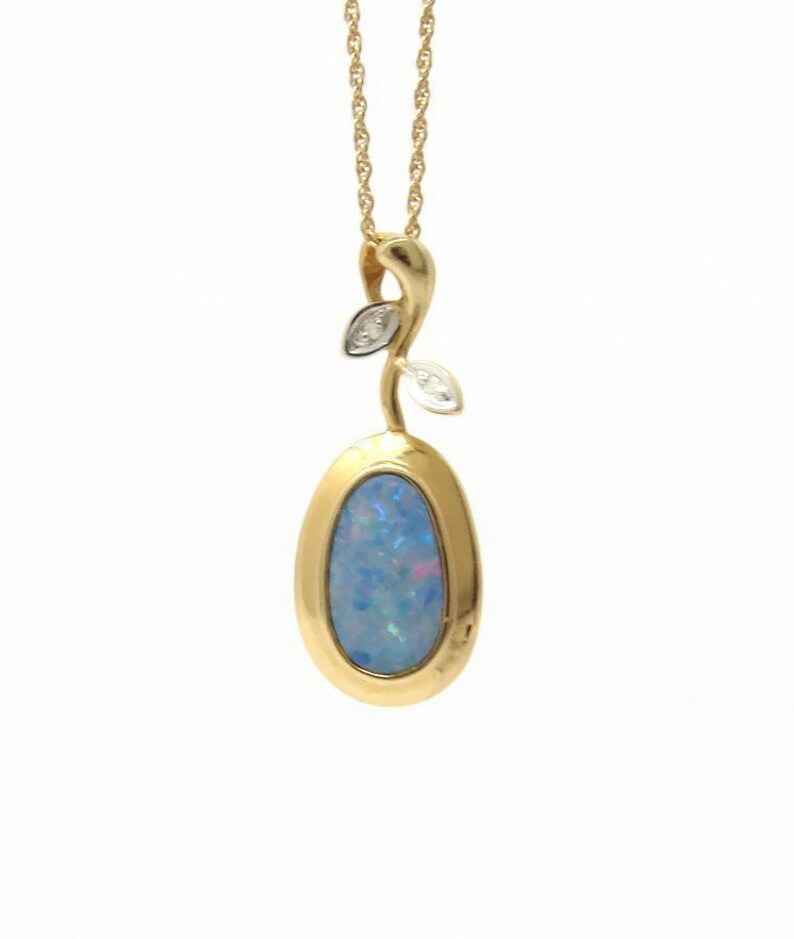 Opal Pendant 14K Gold with Diamond 18 Inch Gold Chain image 0