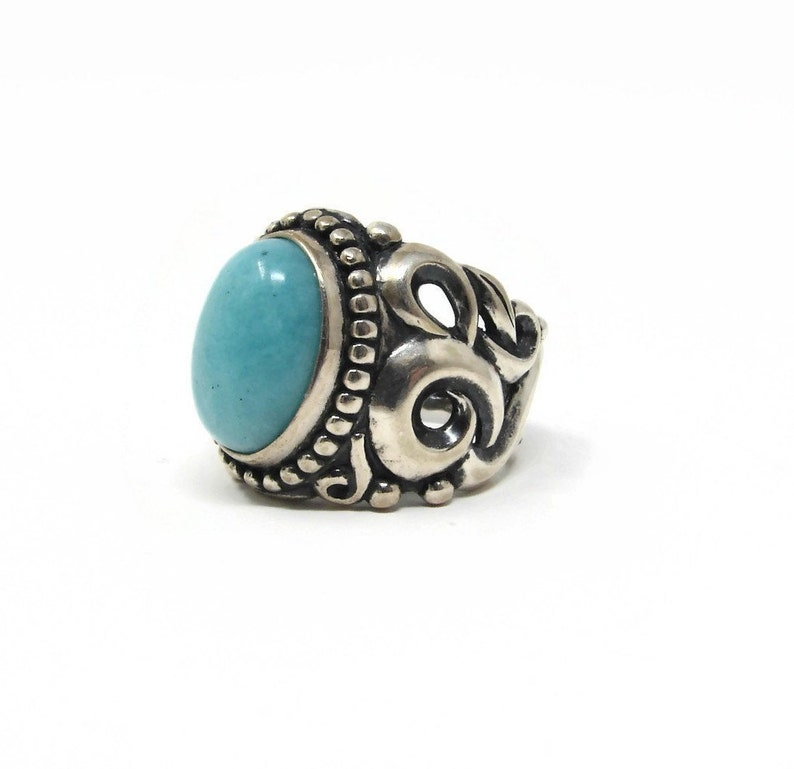 Carolyn Pollack Relios Sterling Turquoise Ring Size 6 Half image 0