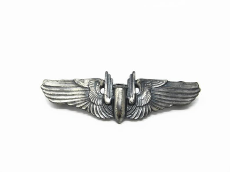 WW2 Sterling US Army Air Force Bombardier Wings Clutch Back image 0