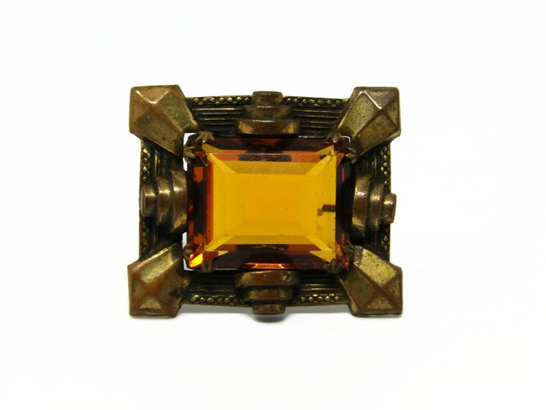 Antique Art Deco Citrine Glass & Brass Brooch image 0