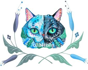 British Shorthair cat, cat art, cat decor, kitten, animal art print by OlaLiola, size 10'x8'/A4