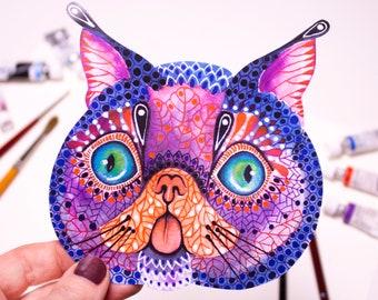 Cute cat sticker, funny cat, grey cat, blue, meme cat face sticker. Approximate size 4,7 inch x 4,9 inch vinyl label.
