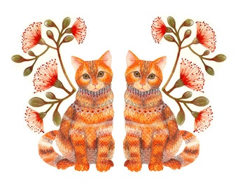 Cats couple, Lacy Twins animals art print by OlaLiola, size 10'x8'/A4 (No. 20)
