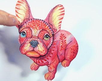 """Raspberry Frenchie sticker, pink french bulldog, Französische Bulldogge, 100% waterproof vinyl label, size 6.5""""x4.4"""""""