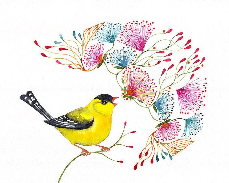 Singing Goldf songbird art print little bird by OlaLiola image 0