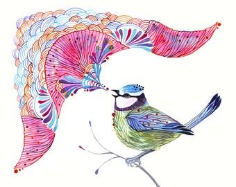 Singing Blue Tit, song bird aquarelle artwork print, size 10'x8'/A4 (No. 11)