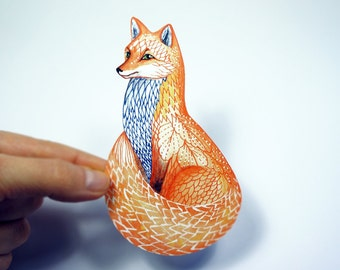 Foxy smile Sticker,  Fox face animal sticker, 100% waterproof vinyl label.