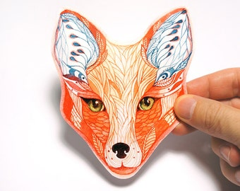 Red Fox sticker animal face, 100% waterproof vinyl label.