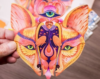 Fox mask sticker, animal face, animal sticker, decor, cute present 100% waterproof vinyl label.