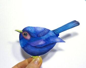 Blue bird macbook sticker, washable vinyl label.