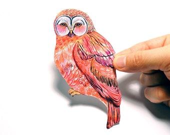 Butterfly Owl bird sticker washable vinyl label, best for macbook