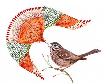 Sparrow bird tweet, Singing Sparrow artwork print by Ola Liola, size 10'x8'/A4 (No. 49)