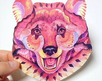 Bear face sticker, 100% waterproof vinyl decal.
