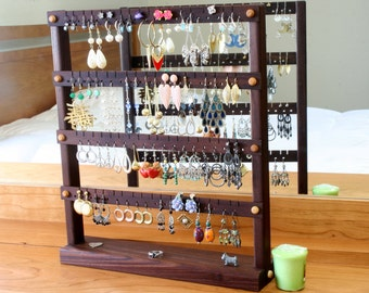 Earring Holder Stand | Jewelry Holder Stand | Peruvian Walnut Jewelry Display | Wood Jewelry Organizer.  Holds 72 Pairs of Earrings.