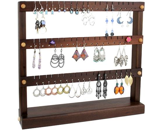 Ohrring Halter Schmuck Organizer Stand, kompakte Schmuck Display, peruanische Nussbaum, Holz. Hält 54 Paar Ohrringe. Schmuck Halter