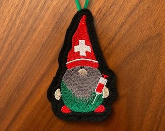 Vaccinating Gnome ornament