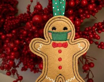 Social distance gingerbread ornament light brown