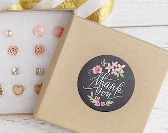 Chalkboard Thank You stickers, Water Resistant Matte Lamination Finish, Watercolor Flower, Round Cut Sticker  Etsy Sellers, Wedding, Party