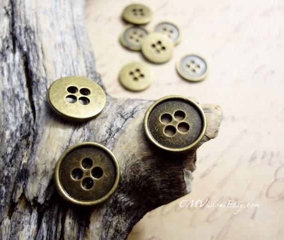14 Button connector charms antique silver tone P514