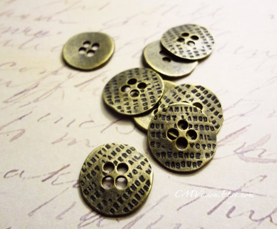 14 Button connector charms antique silver tone P514