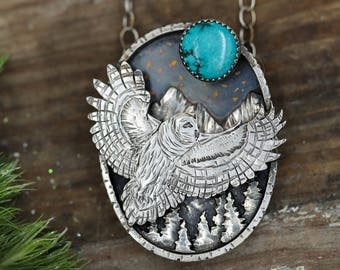RESERVED Barred Owl Necklace. Silver Mountain Necklace. Shadow Box Necklace. Owl Totem.
