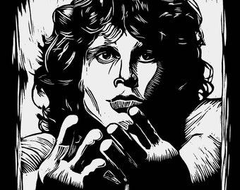 Jim Morrison - Artist Rendition in Woodblock Print - Art Print