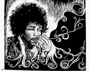 Jimi Hendrix - Artist Rendition in Woodblock Print - Art Print