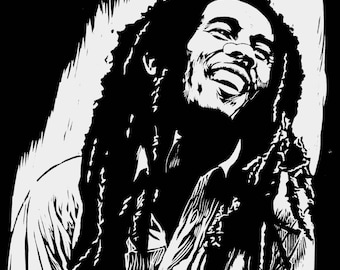 Bob Marley - Artist Rendition in Woodblock Print - Art Print