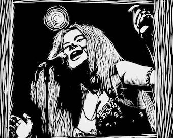 Janis Joplin - Artist Rendition in Woodblock Print - Art Print