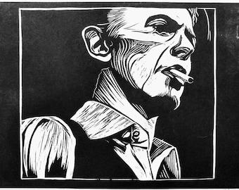 David Bowie - Artist Rendition in Woodblock Print - Art Print