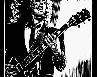 Angus Young - Artist Rendition in Woodblock Print - Art Print