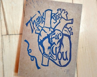Thank You for You - Heart Card - Gratitude Greeting - Quarantine/Isolation/Pandemic 3pk