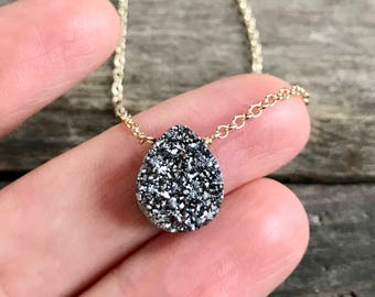 Silver Druzy Necklace, Druzy Quartz Necklace, Drusy Necklace, Layering Necklace, Gemstone Necklace, Druzy Jewelry, 14K GF Cable Chain