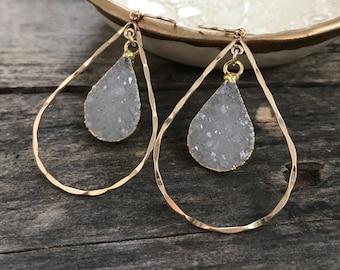 Handmade Gemstone Jewelry Natural Sugar Druzy Earrings,Gold Plated Drop Earrings Gift For Her EJ-1215 A Best Quality Agate Druzy Earrings