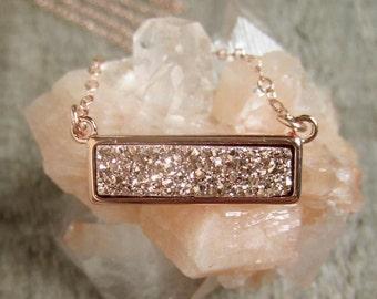 Druzy Necklace, Rose Gold Druzy Necklace, Druzy Bar Necklace, Titanium Druzy Quartz Necklace, Druzy Jewelry