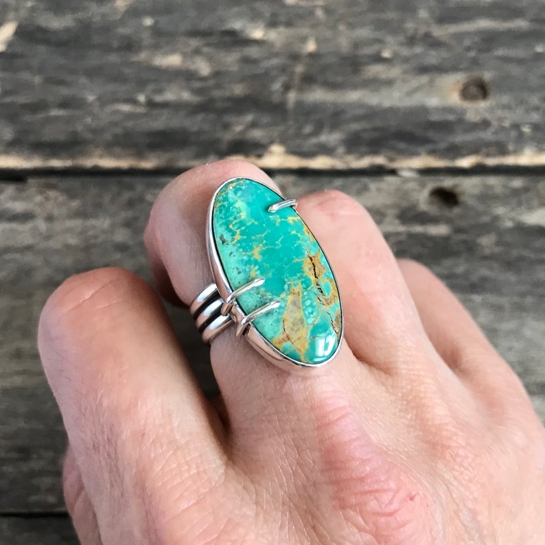 Sterling Silver Ring Size 7.5 Turquoise Ring Gemstone Ring Claw Set Turquoise Statement Ring