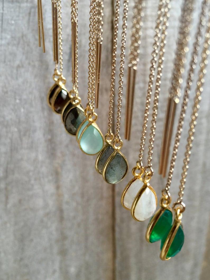 79406bb52876d Gemstone Threader Earrings, U Threader Earrings, Chain Earrings, Ear  Threads, Gemstone Earrings, 14K Gold Fill