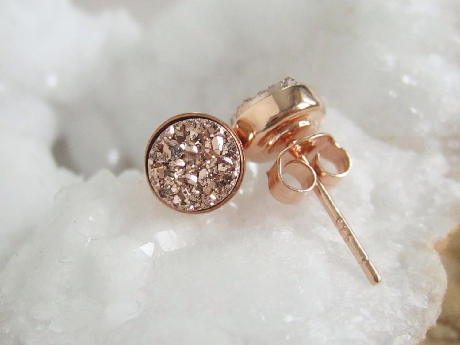 2b52d5679 Druzy Earrings Druzy Earrings Studs Stud Earrings Rose Gold | Etsy