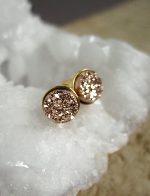 Druzy Gold Stud Earrings
