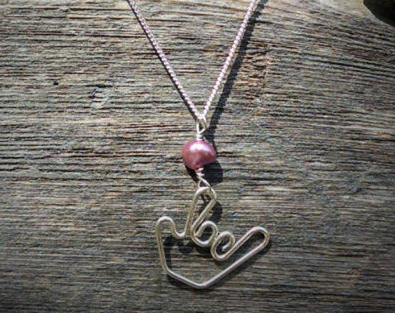 American Sign Language I Love You Necklace with Pink Pearl Stone.